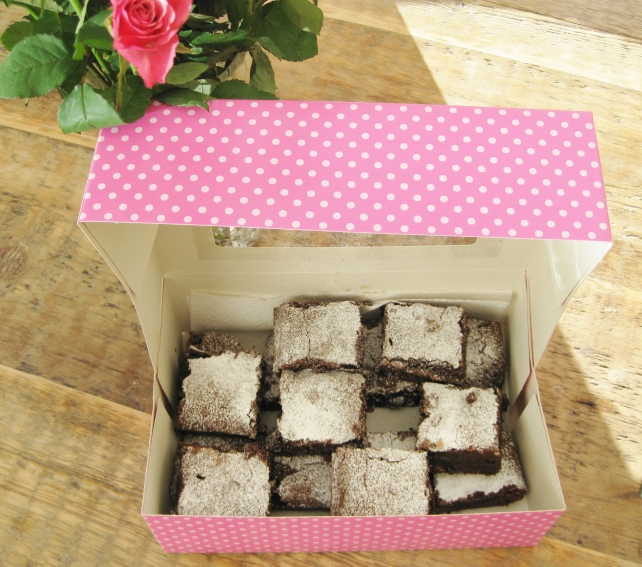 Gift box of raisin and fudge brownies