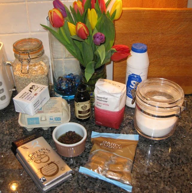 Ingredients laid out for baking sultana fudge brownies