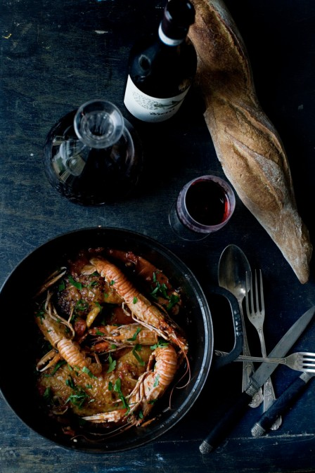 Chicken Marengo with Langoustines and red wine