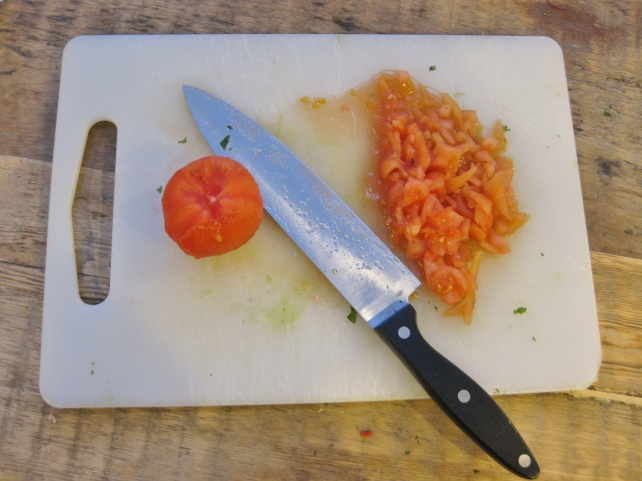 Skinned, de-seeded and chopped tomatoes for homemade guacamole