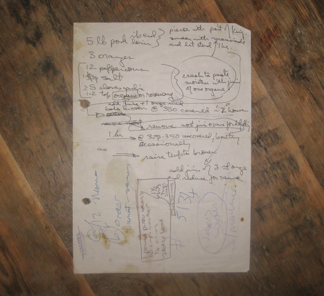 Hand-written recipe for Puerco en Naranja (pork cooked in orange juice)