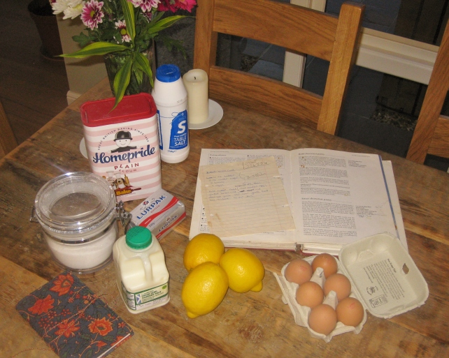 Ingredients for homemade mini lemon curd tarts (sweet short crust pastry and lemon curd)