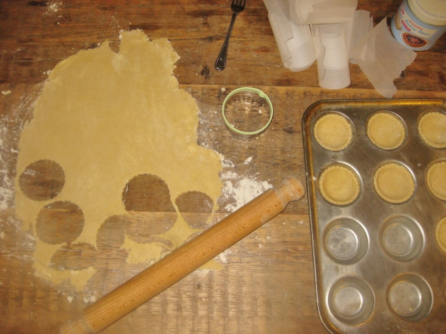 Rolling out the homemade sweet short crust pastry