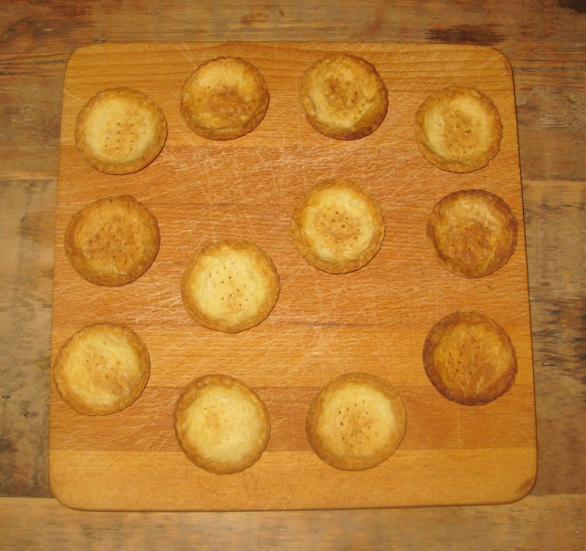 Homemade sweet short crust pastry cases after baking
