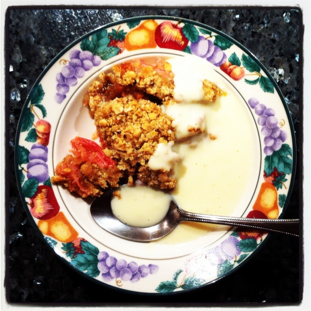 Instagram from annahprice of a bowl of crumble and custard