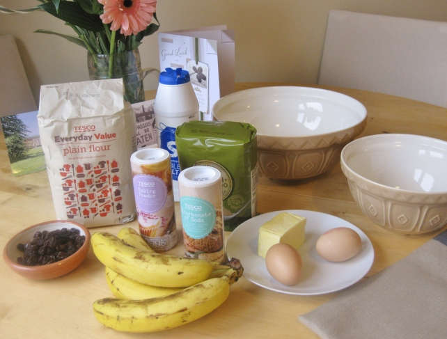 Ingredients for my mum's banana bread recipe