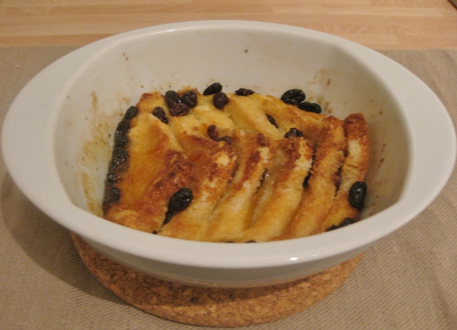 Marmalade and raisin bread and butter pudding