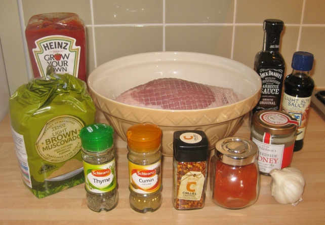 Ingredients for slow-cooked BBQ pulled pork tagine