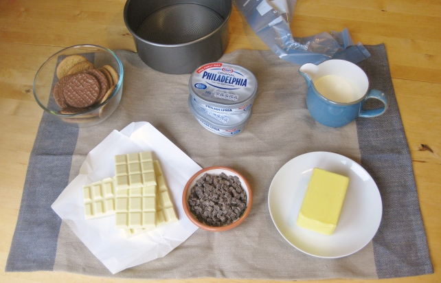 Ingredients for homemade triple chocolate cheesecake