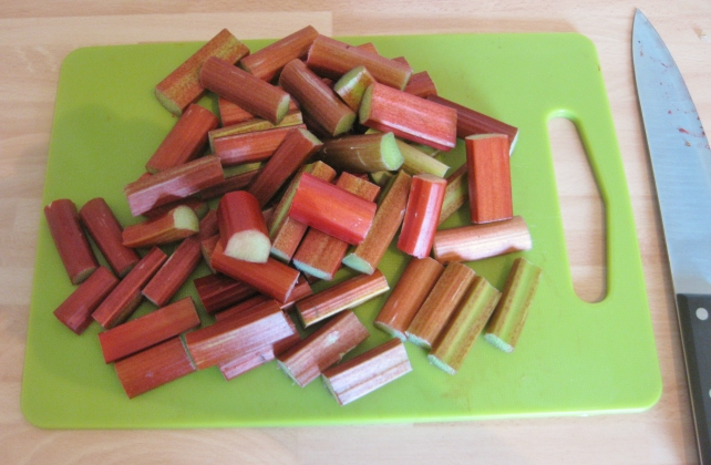 Chopped fresh rhubarb for stewing