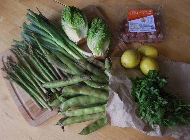 Ingredients for La Vignarola (spring vegetable stew)