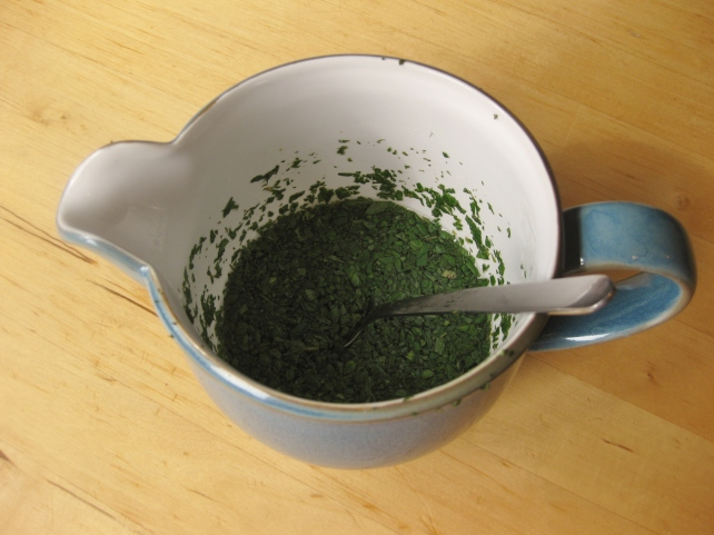 Jug of homemade mint sauce