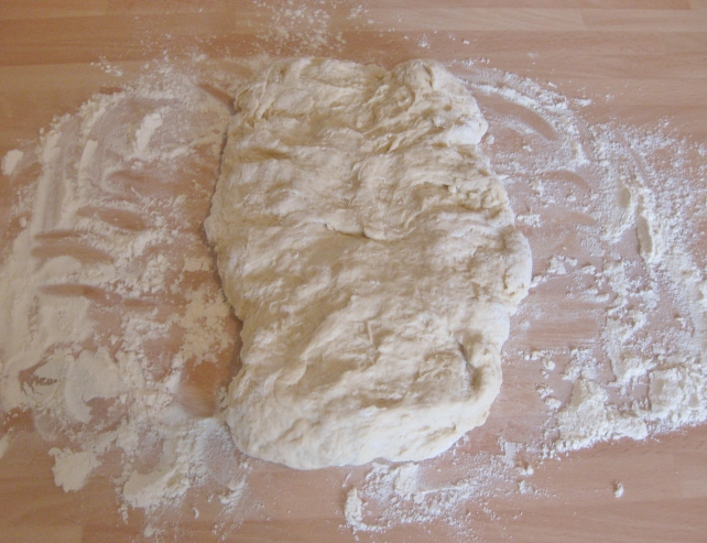 Kneading the homemade pizza dough (1)