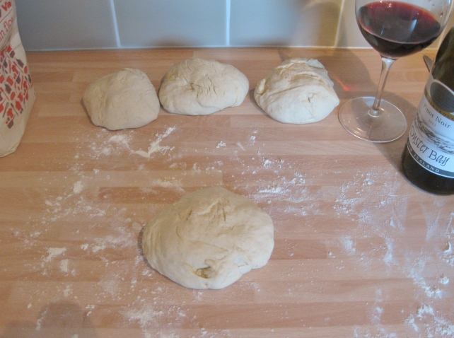 Portioning out the homemade pizza dough
