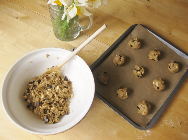 Rolling out the dark chocolate and salted peanut cookies