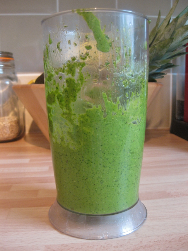 Blended homemade basil pesto
