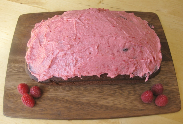 Iced raspberry and chocolate loaf cake