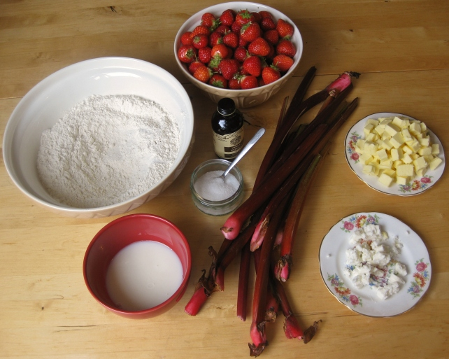 Ingredients for a homemade rhubarb and strawberry pie