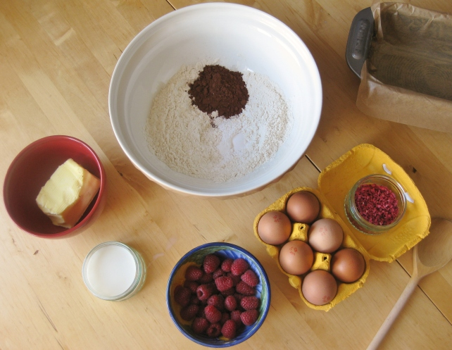 Ingredients for chocolate and raspberry loaf cake