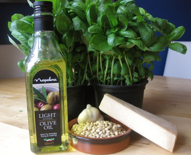 Ingredients for homemade basil pesto