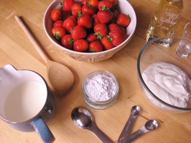 Ingredients for homemade strawberry fool