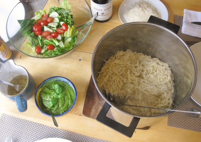Pesto, homemade pasta and salad for dinner