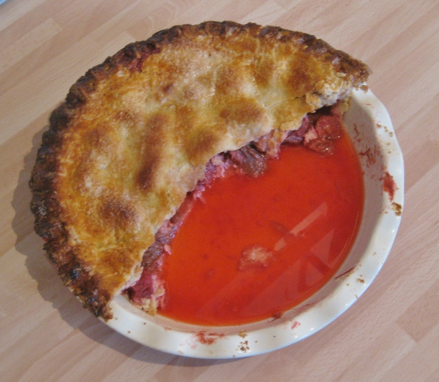 Homemade rhubarb and strawberry pie