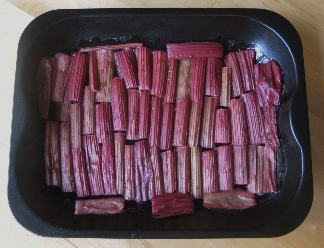 Roasted rhubarb for a rhubarb and strawberry pie