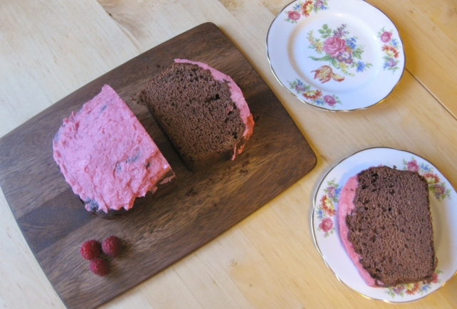 Raspberry and chocolate loaf cake