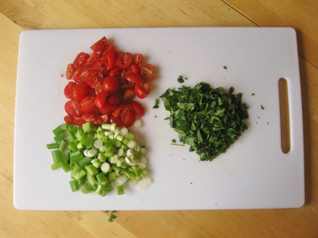 Chopped ingredients for sweetcorn salsa (minus the red pepper I forgot!)