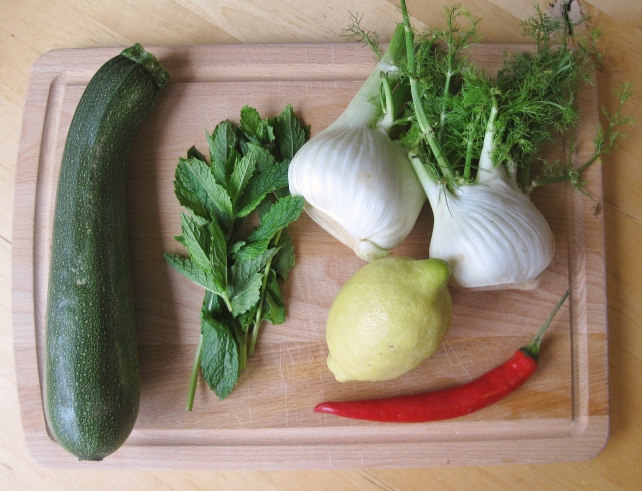 Ingredients for courgette and fennel salad