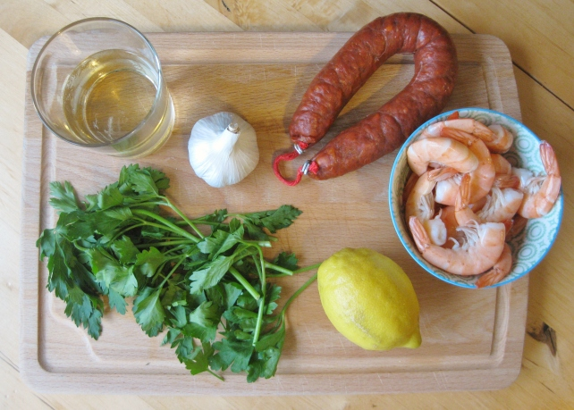 Ingredients for Spanish prawns and chorizo with white wine and garlic