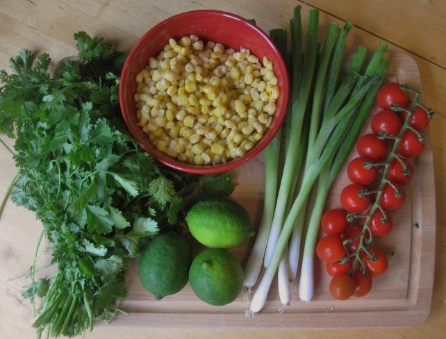 Ingredients for sweetcorn salsa (minus the red pepper I forgot!)