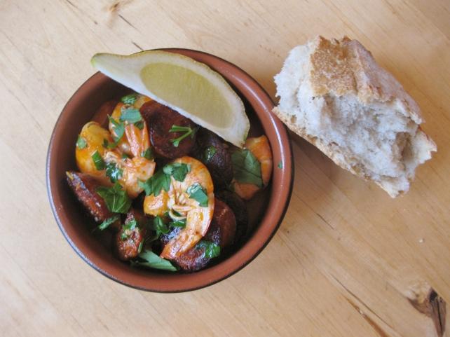 Spanish tapas of prawns and chorizo