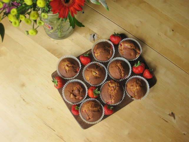 Homemade strawberry and vanilla muffins