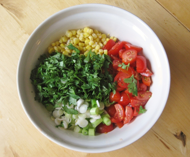 Vegetables for sweetcorn salsa salad