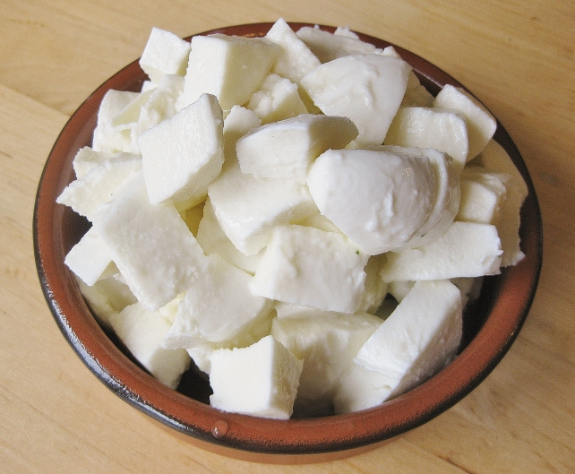 Chopped mozzarella for courgette stuffing