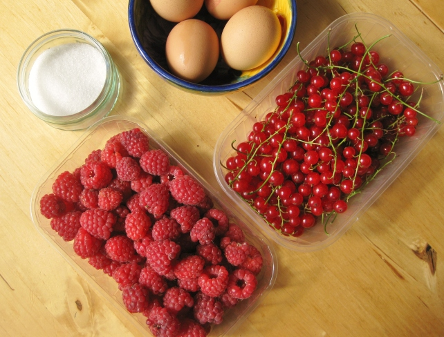 Ingredients for hot redcurrant and raspberry mousse