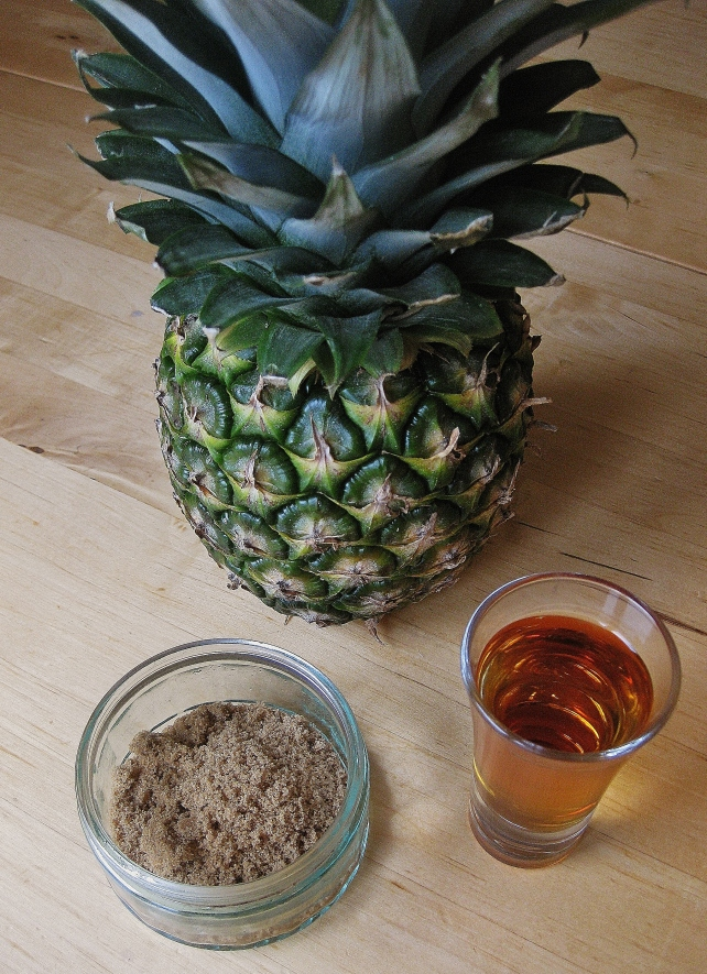 Ingredients for rum grilled pineapple