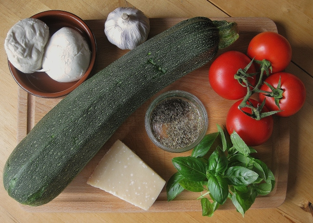 Ingredients for vegetarian stuffed courgettes