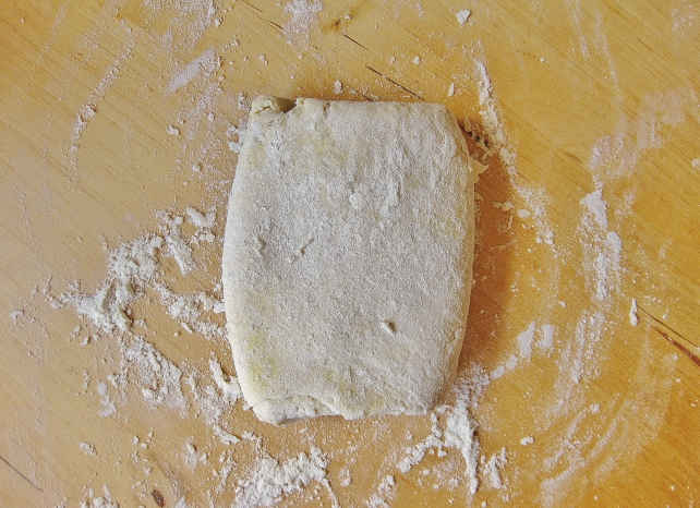 Making puff pastry - the pastry after 4 or 5 roll-and-fold processes