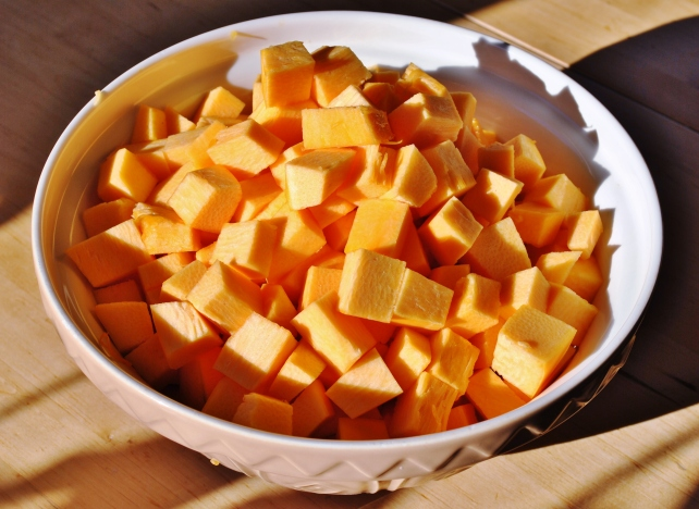 Chopped pumpkin for winter soup