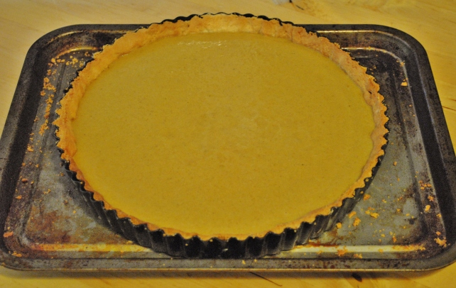 Filling the pumpkin pie