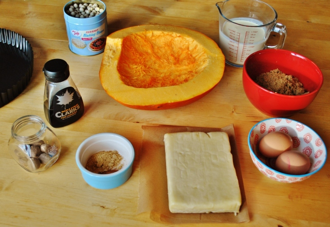 Ingredients for pumpkin pie with maple cream