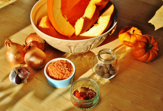 Ingredients for spiced pumpkin soup