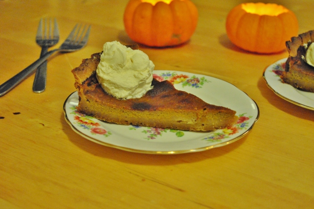 Pumpkin pie served with whipped maple cream