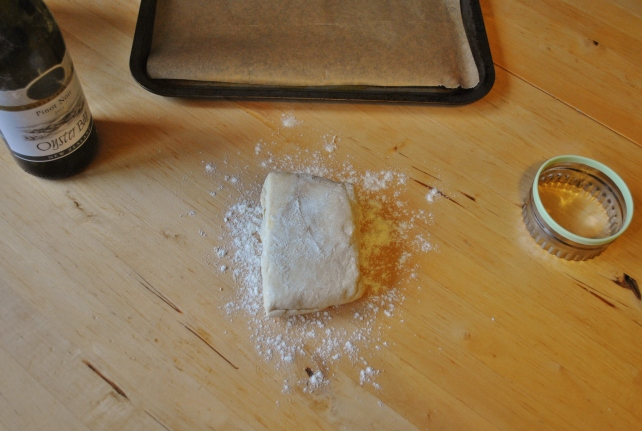 Rolling the homemade puff pastry