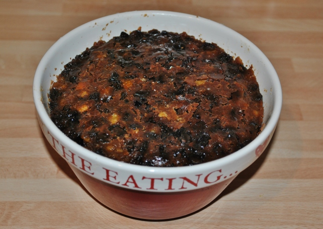 Christmas pudding after the first steam