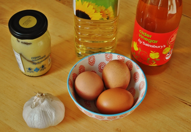 Ingredients for homemade garlic mayonnaise