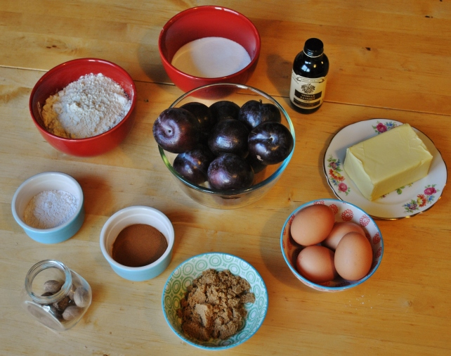 Ingredients for upside down plum cake